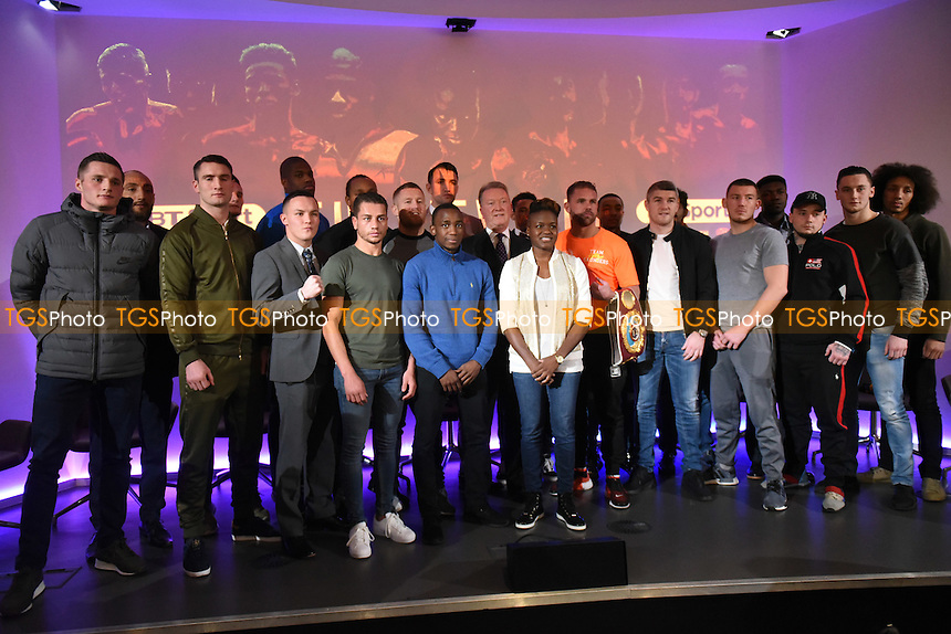Boxer Nicola Adams OBE (C) and group during a Frank Warren and BT Sport Press Conference at the BT Tower on 23rd January 2017