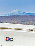 5 December 2014: Pavel Angelov, sliding for Bulgaria, slides through Curve Number 14 on his first run, ending the day with a 26th place finish and a combined 2-run time of 1:47.539 in the Men's Competition at the Viessmann Luge World Cup, at the Olympic Sports Track in Lake Placid, New York, USA. Mandatory Credit: Ed Wolfstein Photo *** RAW (NEF) Image File Available ***
