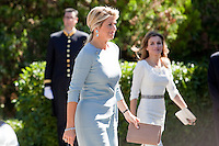 Princess Leticia of Spain (R) receives Queen Maxima of The Netherlands at Zarzuela Palace on September 18, 2013 in Madrid, Spain. (Victor J Blanco/Alterphotos) /nortephoto.com