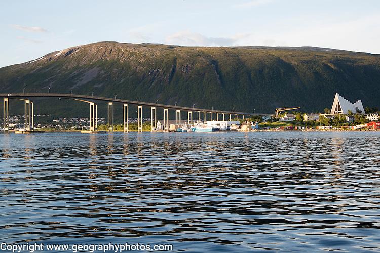Tromso Bridge, cantilever road bridge and Arctic cathedral, city of Tromso, Norway,