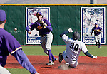 March 7, 2012: San Francisco State Gators shortstop Sam Wilkins throws to first to complete a double play as Nevada Wolf Pack runner Brett Jones slides during their NCAA baseball game played at Peccole Park on Wednesday afternoon in Reno, Nevada.