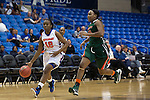 Texas Arlington Mavericks guard Chauntandra Williams (12) and Texas Pan American Lady Broncs guard/forward Joyea Marshall (13) in action during the game between the Texas Pan American Lady Broncs  and the Texas Arlington Mavericks at the College Park Center arena in Arlington, Texas. UTPA defeats UTA 59 to 57....