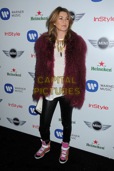 Ellen Pompeo.Warner Music Group 2013 Grammy Celebration held at The Chateau Marmont, West Hollywood, California, USA..February 10th, 2013.full length top leather trousers black pink sneakers trainers shoes clutch bag white top gold necklace red maroon burgundy fur jacket .CAP/ADM/BP.©Byron Purvis/AdMedia/Capital Pictures.