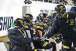 SALEM, VA - DECEMBER 16:  The University of Wisconsin-Oshkosh prepares for their game against the University of Mary Hardin-Baylor during the Division III Men's Football Championship held at Salem Stadium on December 16, 2016 in Salem, Virginia.   Mary Hardin-Baylor defeated the University of Wisconsin-Oshkosh 10-7 for the national title. (Photo by Don Petersen/NCAA Photos via Getty Images)