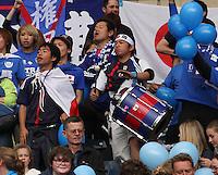 Men's Olympic Football match Spain v Japan on 26.7.12...Japanese fans, during the Spain v Japan Men's Olympic Football match at Hampden Park, Glasgow...........