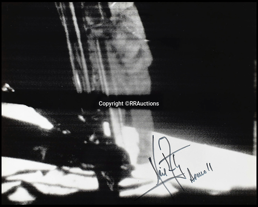 BNPS.co.uk (01202 558833)<br /> Pic : RRAuctions/BNPS<br /> <br /> Grainy photo sent from the moon of Armstrong's historic first step, signed by the astronaut.<br /> <br /> One small step-by-step for man...<br /> <br /> Fascinating step-by-step plan of the historic first moon landing reveals NASA's meticulous planning. <br /> <br /> A collection of rare artefacts from the Apollo 11 mission are being sold on the 50th anniversary of the historic moon landings.<br /> <br /> The sale also includes an American flag carried to the moon, Neil Armstrong's toy plane that first inspired him to fly, along with his Robbins medal and the visitors book from Airforce One with comments from the astronauts and their wives.<br /> <br /> The items are going under the hammer with US based RR Auctions who expect them to fetch over £127,000. ($160,000)