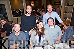 Friends home from America enjoying an evening out at the Roasthouse on Saturday. Pictured front l-r  Mark Sullivan, Erin O'Sullivan, Jason O'Sullivan, back l-r  Mark Tangney and Stephen Kelly.