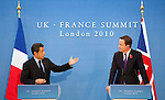 Mcc0026946 . Daily Telegraph..POOL PHOTOS    POOL PHOTOS..French President Nicolas Sarkozy and  Prime Minister David Cameron at the press conference for the Anglo-French Summit at Lancaster House...London 2 November  2010.