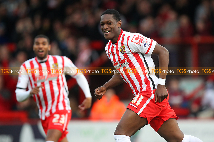 Armand Gnanduillet of Stevenage scores the first goal for his team and celebrates during Stevenage vs Accrington Stanley, Sky Bet League 2 Football at the Lamex Stadium, Stevenage, England on 19/12/2015