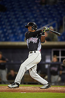 Wisconsin Timber Rattlers shortstop Luis Aviles (3) at bat during the second game of a doubleheader against the Quad Cities River Bandits on August 19, 2015 at Modern Woodmen Park in Davenport, Iowa.  Quad Cities defeated Wisconsin 8-1.  (Mike Janes/Four Seam Images)