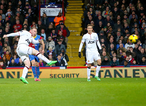22.02.2014 London, England. Wayne ROONEY scores the second goal with a stunning volley during the Premier League game between Crystal Palace and Manchester United from Selhurst Park.