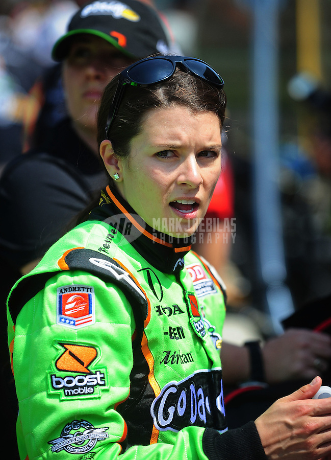 May 28, 2010; Indianapolis, IN, USA; IndyCar Series driver Danica Patrick during carb day prior to the Indianapolis 500 at the Indianapolis Motor Speedway. Mandatory Credit: Mark J. Rebilas-