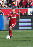 18 May 2013: Toronto FC forward Jeremy Brockie #22 in action during an MLS game between the Columbus Crew and Toronto FC at BMO Field in Toronto, Ontario Canada..The Columbus Crew won 1-0...