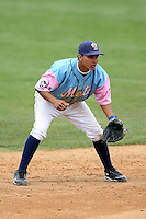 May 3, 2009:  Shortstop Ruben Tejada of the Binghamton Mets, Eastern League Class-AA affiliate of the New York Mets, in the field during a game at the NYSEG Stadium in Binghamton, NY.  The Mets wore special blue and pink jerseys that were auctioned off after the game to benefit breast and prostate cancer.  Photo by:  Mike Janes/Four Seam Images
