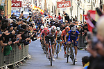 Tiesj Benoot (BEL) Lotto Soudal, Zdenek &Scaron;tybar (CZE) Deceuninck-QuickStep and Greg Van Avermaet (BEL) CCC Team climb Via Santa Caterina in Siena in the last km of Strade Bianche 2019 running 184km from Siena to Siena, held over the white gravel roads of Tuscany, Italy. 9th March 2019.<br /> Picture: Eoin Clarke | Cyclefile<br /> <br /> <br /> All photos usage must carry mandatory copyright credit (&copy; Cyclefile | Eoin Clarke)