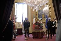 Roma, 29 Settembre 2015<br /> Camera ardente a Montecitorio per Pietro Ingrao.<br /> Gli operai delle Acciaierie di Terni accanto alla bara con caschetti e abiti da lavoro.