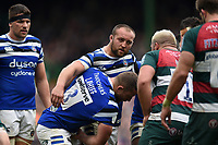 Tom Dunn and the rest of the Bath Rugby forwards pack down for a scrum. Gallagher Premiership match, between Leicester Tigers and Bath Rugby on May 18, 2019 at Welford Road in Leicester, England. Photo by: Patrick Khachfe / Onside Images