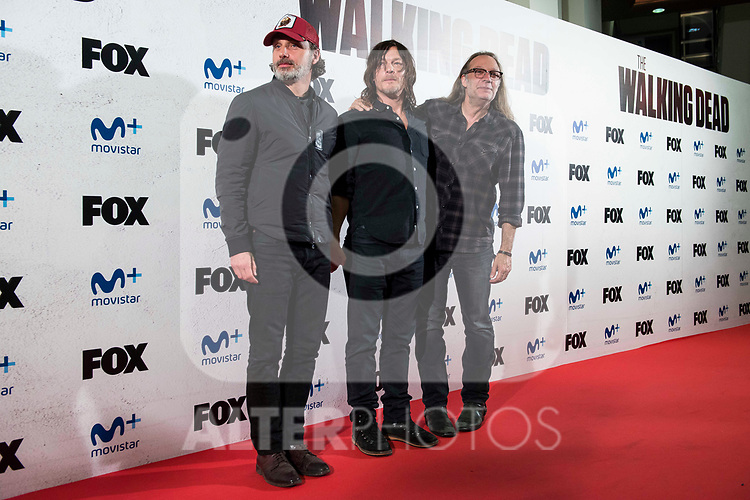 """Andrew Lincoln, Norman Reedus and director of the series, Greg Nicotero attends to an event with fans of """"The Walking Dead"""" at Cines Capitol in Madrid. March 09, 2017. (ALTERPHOTOS/Borja B.Hojas)"""