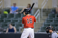 Grant Massey (16) of the Kannapolis Intimidators at bat against the West Virginia Power at Kannapolis Intimidators Stadium on August 20, 2016 in Kannapolis, North Carolina.  The Intimidators defeated the Power 4-0.  (Brian Westerholt/Four Seam Images)