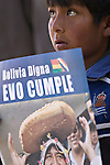 &copy;PATRICIO CROOKER<br /> Chuquisaca, Bolivia<br /> A picture dated August 5, 2007 shows a young boy holding a sign with the image of Bolivian President Evo Morales, who was attending a ceremony in the city of Sucre.