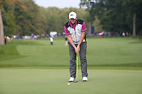 Marcus Fraser (AUS) in putting action during the Final Round of the British Masters 2015 supported by SkySports played on the Marquess Course at Woburn Golf Club, Little Brickhill, Milton Keynes, England.  11/10/2015. Picture: Golffile | David Lloyd<br /> <br /> All photos usage must carry mandatory copyright credit (&copy; Golffile | David Lloyd)