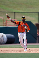 Bowie Baysox third baseman Anderson Feliz (20) throws to first base during an Eastern League game against the Binghamton Rumble Ponies on August 21, 2019 at Prince George's Stadium in Bowie, Maryland.  Bowie defeated Binghamton 7-6 in ten innings.  (Mike Janes/Four Seam Images)