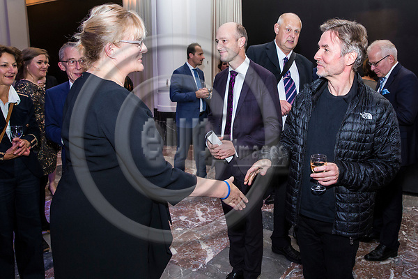 BRUSSELS - BELGIUM - 27 September 2017 -- Finland 100th Anniversary Reception and Concert of the Philharmonia Orchestra of London at the BOZAR. --(from right) Esa-Pekka Salonen, Conductor of the Philharmonia Orchestra of London and Ulrich Hauschild, Director of BOZAR MUSIC with Pirkko Mattila, Minister of Social Affairs and Health of Finland. -- PHOTO: Juha ROININEN / EUP-IMAGES
