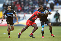 Aled Brew of Bath Rugby is tackled. European Rugby Champions Cup match, between RC Toulon and Bath Rugby on December 9, 2017 at the Stade Mayol in Toulon, France. Photo by: Patrick Khachfe / Onside Images