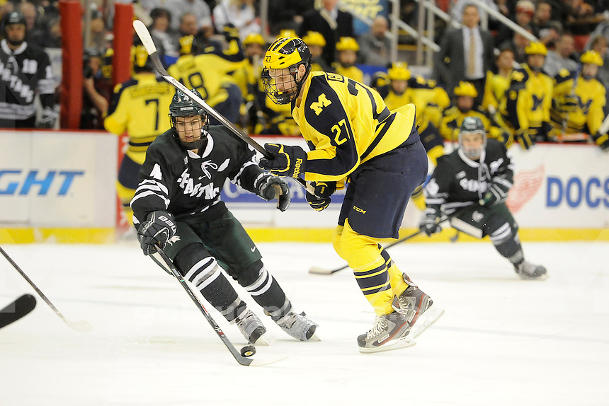 Michigan vs. Michigan State University, College Hockey Night at The Joe, Thursday, January 23, 2014.