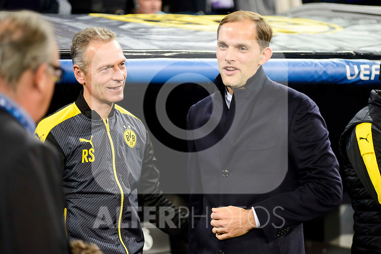 Borussia Dortmund coach Thomas Tuchel during the UEFA Champions League match between Real Madrid and Borussia Dortmund at Santiago Bernabeu Stadium in Madrid, Spain. December 07, 2016. (ALTERPHOTOS/BorjaB.Hojas)