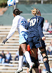 24 November 2007: North Carolina's Nikki Washington (26) and Notre Dame's Carrie Dew (19) challenge for a header. The University of Notre Dame Fighting Irish defeated University of North Carolina Tar Heels 3-2 at Fetzer Field in Chapel Hill, North Carolina in a Third Round NCAA Division I Womens Soccer Tournament game.
