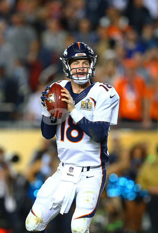 Feb 7, 2016; Santa Clara, CA, USA; Denver Broncos quarterback Peyton Manning (18) throws his final pass of the game for a successful two pint conversion against the Carolina Panthers in the fourth quarter of Super Bowl 50 at Levi's Stadium. Mandatory Credit: Mark J. Rebilas-USA TODAY Sports