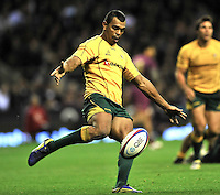 Twickenham, England. Kurtley Beale of Australia in action during the QBE international match between England and Australia for the Cook Cup at Twickenham Stadium on November 10, 2012 in Twickenham, England