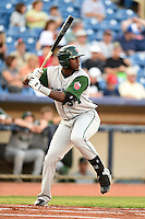 Fort Wayne TinCaps outfielder Franmil Reyes (34) at bat during a game against the Lake County Captains on August 21, 2014 at Classic Park in Eastlake, Ohio.  Lake County defeated Fort Wayne 7-8.  (Mike Janes/Four Seam Images)