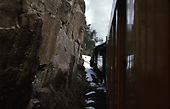 D&amp;SNG Cascade Winter train is passing close to a rock projection in Animas Canyon.<br /> D&amp;S  Animas Canyon, CO