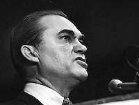 Alabama Governor George Wallace at rally at the Cow Palace in San Francisco.(1968 photo/Ron Riesterer)