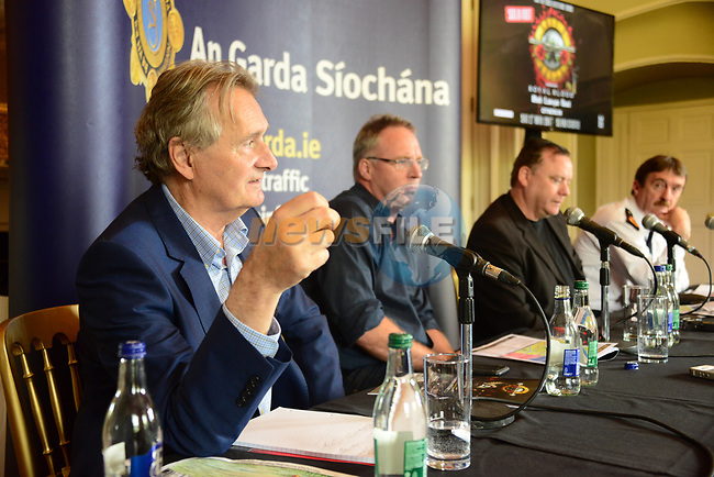 The Garda press conference in Slane Castle ahead of the Guns n Roses concert Lord Henry Mountcharles, Event controller Eamon Fox of MCD, Justin Greene of MCD and Garda Superintendent Michael Devine.<br /> Picture Fran Caffrey /Newsfile.ie