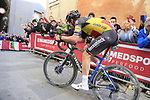 Belgian National Champion Yves Lampaert (BEL) Deceuninck-Quick Step climbs Via Santa Caterina in Siena in the last km of Strade Bianche 2019 running 184km from Siena to Siena, held over the white gravel roads of Tuscany, Italy. 9th March 2019.<br /> Picture: Eoin Clarke | Cyclefile<br /> <br /> <br /> All photos usage must carry mandatory copyright credit (© Cyclefile | Eoin Clarke)