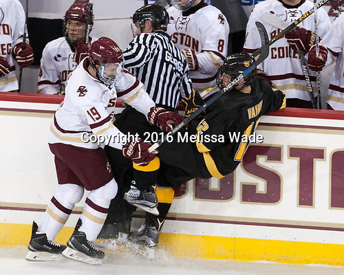 Ryan Fitzgerald (BC - 19), Tommy George, Bryce Van Horn (CC - 12) - The Boston College Eagles defeated the visiting Colorado College Tigers 4-1 on Friday, October 21, 2016, at Kelley Rink in Conte Forum in Chestnut Hill, Massachusetts.The Boston College Eagles defeated the visiting Colorado College Tiger 4-1 on Friday, October 21, 2016, at Kelley Rink in Conte Forum in Chestnut Hill, Massachusett.