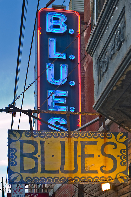 Neon and metal signs of the famous, Chicago Blues club, Chicago, Illinois