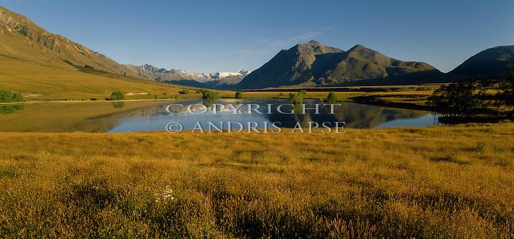 A small lake in the Ahuriri Valley. Canterbury Region. New Zealand.