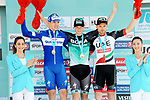 Sam Bennett (IRL) Bora-Hansgrohe wins Stage 2 of the 54th Presidential Tour of Turkey 2018, with Alvaro Hodeg (COL) Quick-Step Floors in 2nd place and Simone Consonni (ITA) UAE Team Emirates 3rd place, running 150km from Alanya to Antalya, Turkey. 10th October 2018.<br /> Picture: Brian Hodes/VeloImages | Cyclefile<br /> <br /> <br /> All photos usage must carry mandatory copyright credit (&copy; Cyclefile | Brian Hodes/VeloImages)