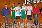 BASKETBALL: St. Brendan's Team Meadowlands hosted an exhibition night against Slovenian.team Cerklje Kosarski Krvavec in Mounthawk on Tuesday evening. Pictured l-r: Coach Stephen.O'Callaghan, Sea?n McCarthy, Brankovic Anje, Mark Mitchell, Sodnik Brane and coach Korosec.Joje.