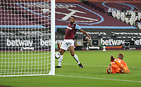 West Ham United's Sebastien Haller scores his side's first goal  <br /> <br /> Photographer Rob Newell/CameraSport<br /> <br /> Carabao Cup Second Round Northern Section - West Ham United v Charlton Athletic - Tuesday 15th September 2020 - London Stadium - London <br />  <br /> World Copyright © 2020 CameraSport. All rights reserved. 43 Linden Ave. Countesthorpe. Leicester. England. LE8 5PG - Tel: +44 (0) 116 277 4147 - admin@camerasport.com - www.camerasport.com