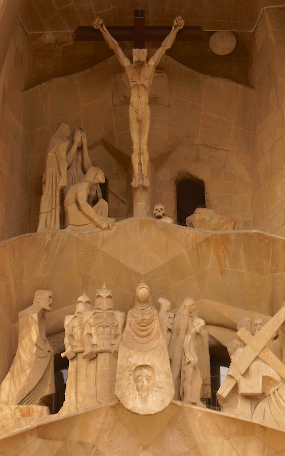 Salgrada Familia, Architect Antoni Gaudi, Passion Facade, Sculptor Josep Maria Subirachs, Barcelona, Spain