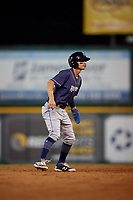 Binghamton Rumble Ponies Andres Gimenez (13) leads off second base during an Eastern League game against the Richmond Flying Squirrels on May 29, 2019 at The Diamond in Richmond, Virginia.  Binghamton defeated Richmond 9-5 in ten innings.  (Mike Janes/Four Seam Images)
