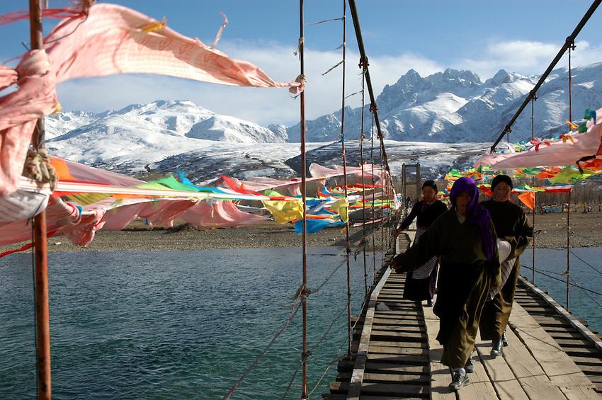 Brigde over the Yalong River, Ganzi - taken March 17, 2008 - Michael Benanav - 505-579-4046