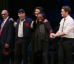 Reggie Jackson, Danny Burstein, Maggie Gyllenhaal, Whoopi Goldberg, Matthew Morrison during the Curtain Call for the Roundabout Theatre Company presents a One-Night Benefit Concert Reading of 'Damn Yankees' at the Stephen Sondheim Theatre on December 11, 2017 in New York City.