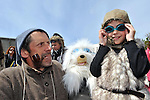 6-5-2012: SUNDAY: Nick Massett and his daughter Georgia May from Dingle, County Kerry pictured in the annual Dingle Feile na Bealtaine Festival parade which had the theme of 'Tom Crean-Antartic Explorer' featuring explorers,  icebergs, penguins, huskies, whales and musicians in the colourful procession through the streets on Sunday.  The festival finishes on Monday with a political symposium entitled 'Can We Re-Pay Our Way' at the Blasket Centre in Dun Chaoin.<br /> Picture by Don MacMonagle