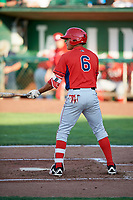 Franklin Torres (6) of the Orem Owlz bats against the Ogden Raptors in Pioneer League action at Lindquist Field on June 21, 2017 in Ogden, Utah. The Owlz defeated the Raptors 16-5. This was Opening Night at home for the Raptors.  (Stephen Smith/Four Seam Images)